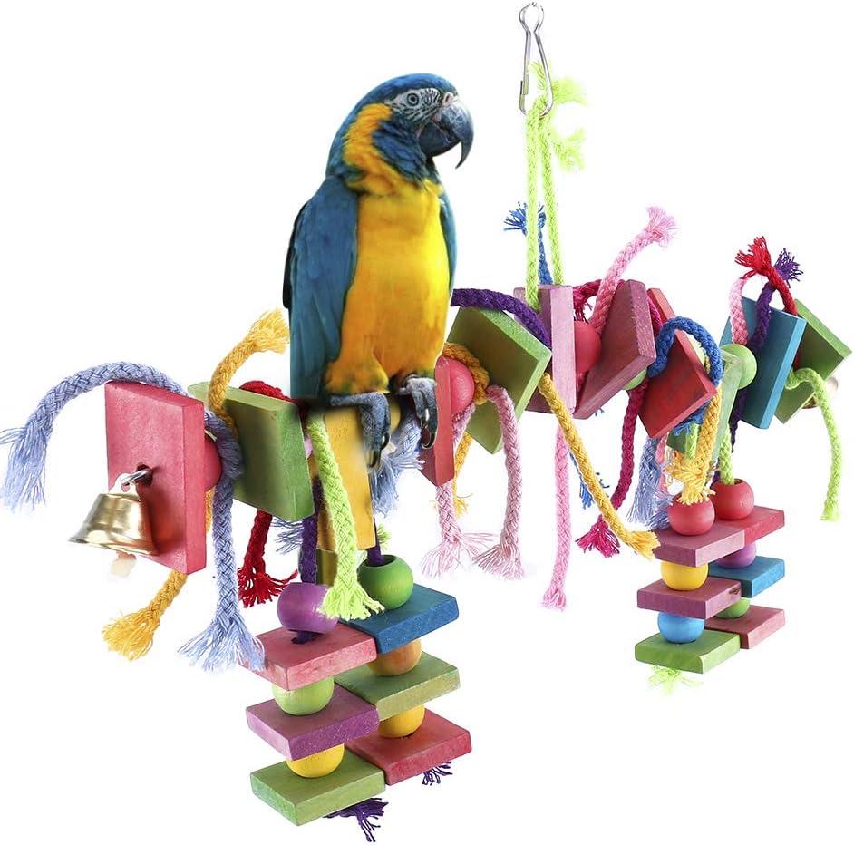 Dightyoho Columpio para Pájaro, Juguete de Madera para Loros Papagayos para Masticar (Columpio para Pájaro) (A)