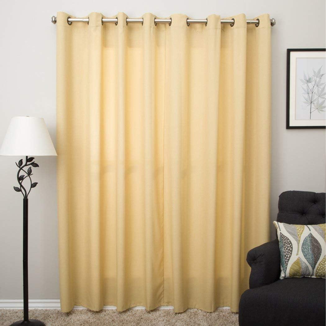 1Pieza 84 oro Color sólido cortina de puerta corredera, amarillo ...