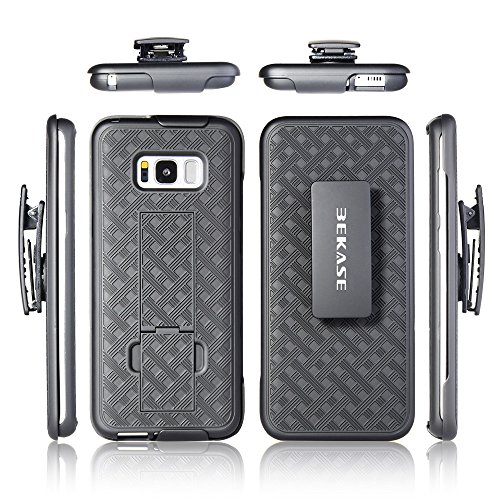 Galaxy S8+ Plus Case, BEKASE (TM) Hard Shell Holster Combo Matte Finish Protective Slim Case for Samsung Galaxy S8+ Plus with KickStand and Locking Belt Swivel Clip (Black)