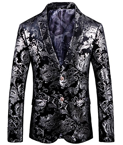 WULFUL Men's Luxury Casual Dress Floral Suit Notched Lapel Slim Fit Stylish Blazer Jacket Party Coats Silver