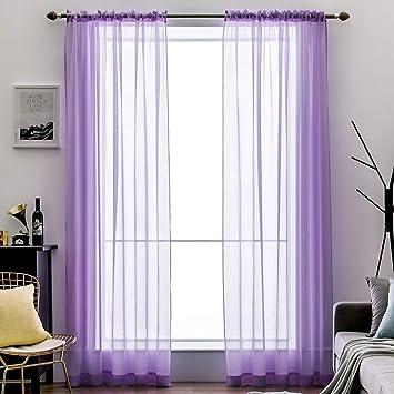 MIULEE 2 Panneaux Couleur Pure Rideaux De Fenêtre Transparents Lisse  Élégant Panneaux Voile De Fenêtre/Rideaux/Traitement pour Chambre Salon  Tige de ...