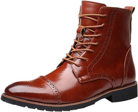 Botas Altas De Motorista para Hombre Botas De Cuero, Elegantes Botas De Caña Alta Talladas por El Viento Británico para Hombres con Estilo Botas: Amazon.es: Zapatos y complementos