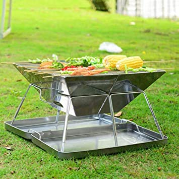 Olydmsky Barbacoa Plegable, Acero Inoxidable Plegable Barbacoa ...