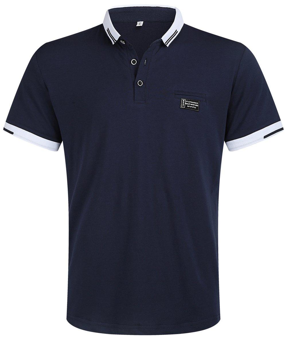 Musen Men Short Sleeve Polo Shirt Cotton Regular Fit T-Shirts Navy Blue L