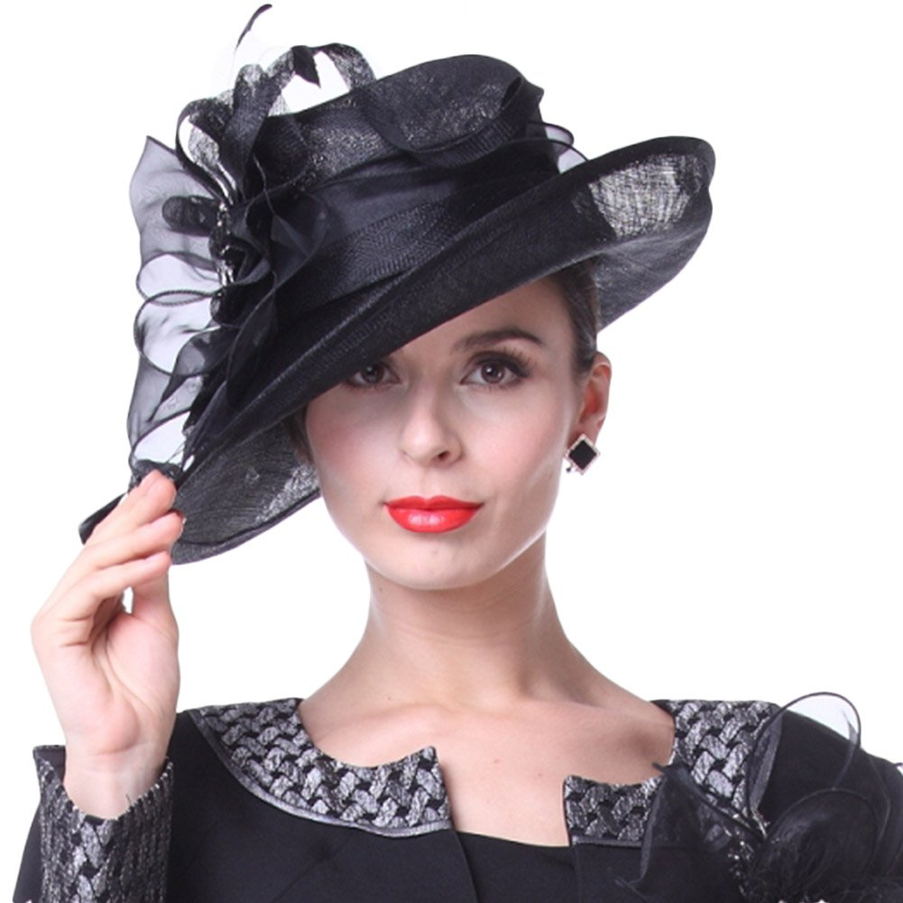 Kueeni Women Hats Church Hats Elegant Lady Sinamay Hats Black Color