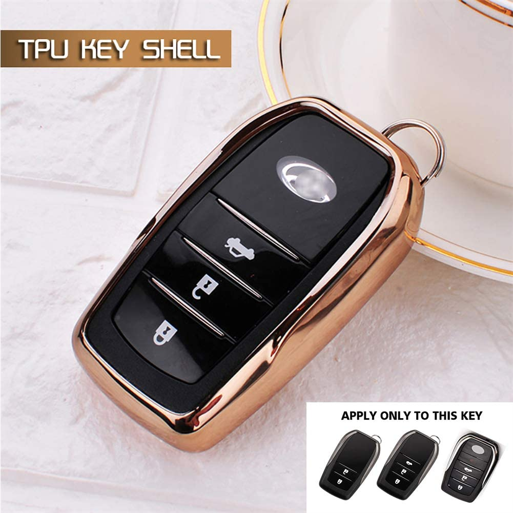 Soft TPU Key Fob Case Protector Holder for Toyota Camry Highlander Rav4 Avalon Corolla Crown Land Cruiser Prado etc Smart Keyless Entry Red GEERUI Compatible with Toyota Key Fob Cover