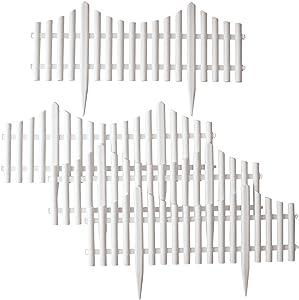 Collections Etc Flexible White Picket Fence Border for Garden, Landscape Edging, Pathways - 4 Piece Set, White