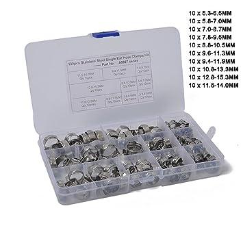 180 Tlg Verstellbar Schlauchschellen Klemmschellen Edelstahl Sortiment 5,8-21mm