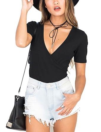 f203d1d233 Akmipoem Women s Bodysuit Sexy V Neck Wrap Front Short Sleeve Leotard  Jumpsuit Tops Black S