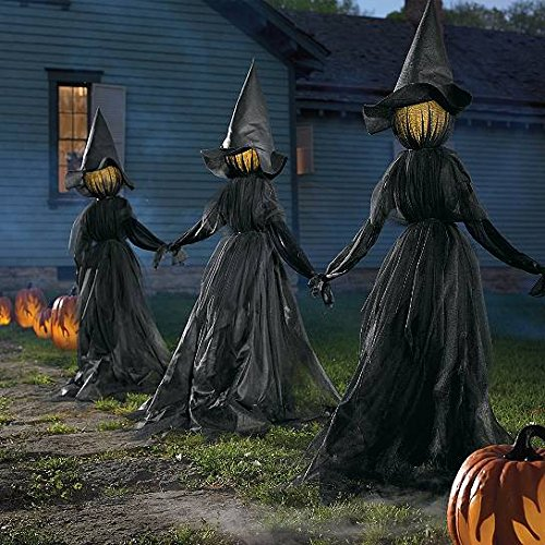 [Set of 3 Lighted Glowing Black Witches Witch Coven Outdoor Halloween Prop Decoration Halloween Display] (Outdoor Witch Decorations)