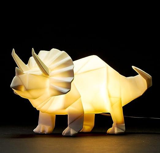 Wonderful Dinosaur Lamp White Origami Triceratops Night Light By Disaster Designs
