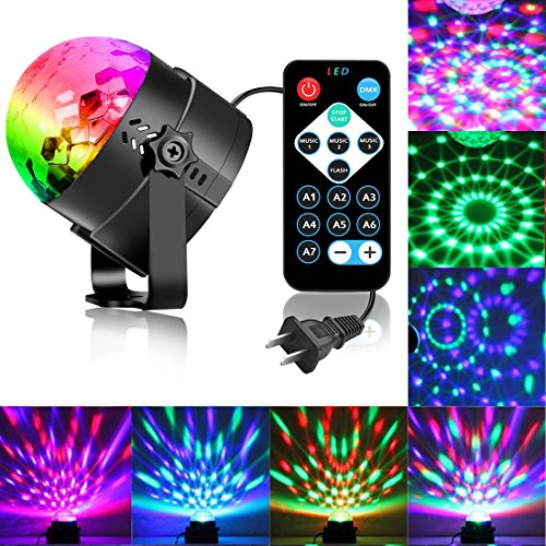 Disco Ball Strobe Light Party Lights Disco Lights Karaoke Machine 3W Dj Light LED Portable 7Colors Sound Activated Stage Lights for Festival Bar Club Party Outdoor (with Remote)