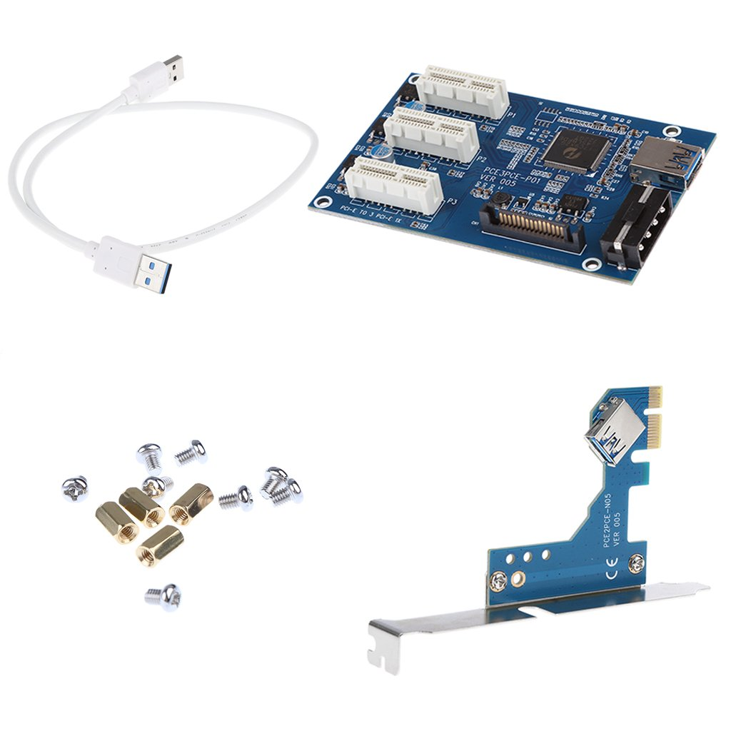MagiDeal Pci-e da 1x A 3X Pcie Esprimere L'adattatore per Scheda Slot + USB 3.0 1x Slot