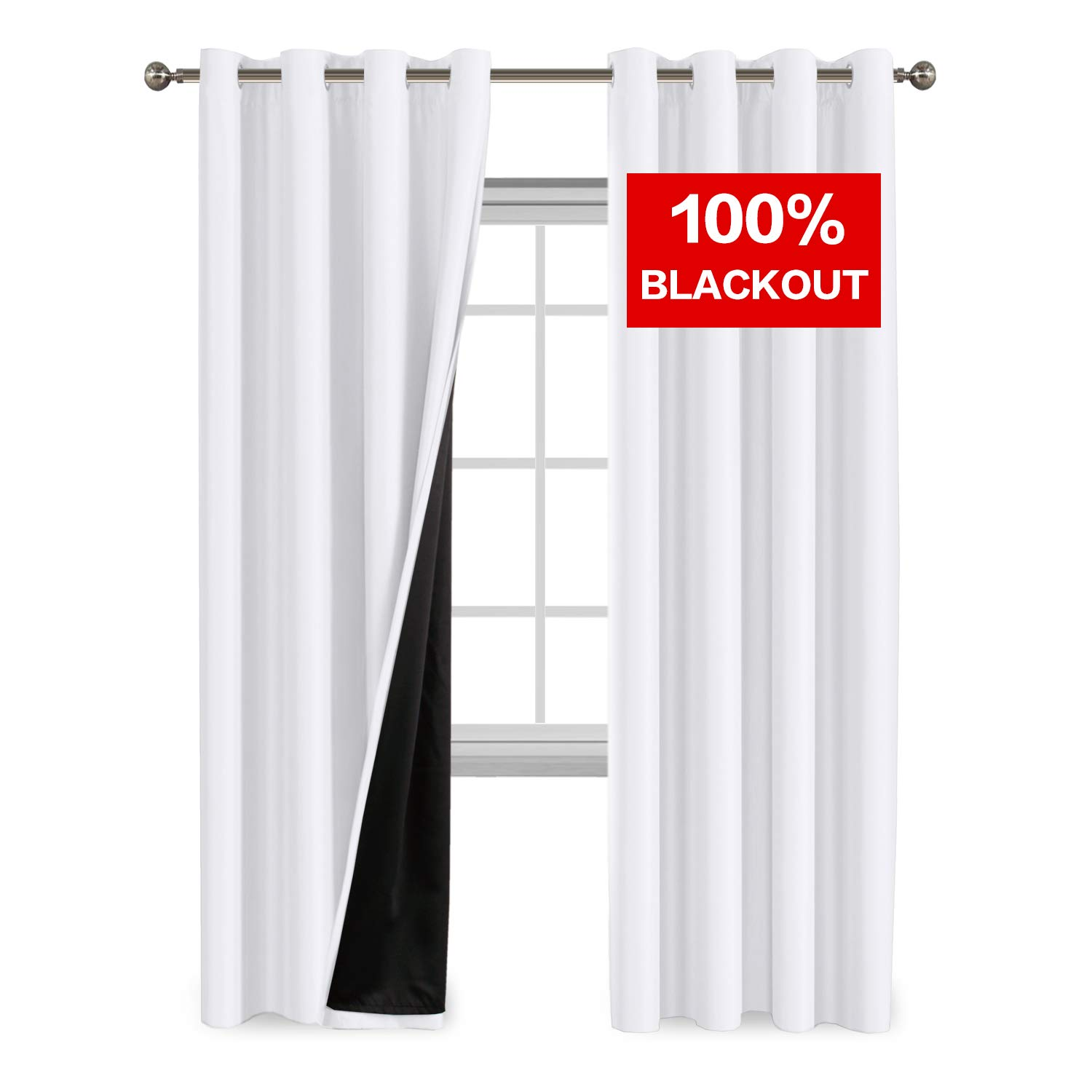 Flamingo P Room Darkening Greyish White Curtains Faux Silk Satin with Black Liner Thermal Insulated Window Treatment Panels, Grommet Top (52 x 96 Inch, Set of 2)