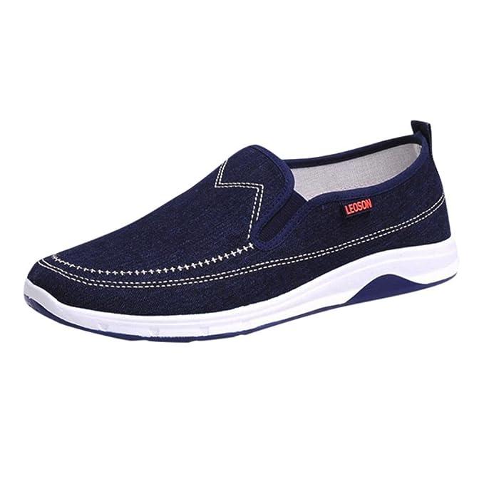 98043b7f2b ღ UOMOGO Scarpe sportive piatte da uomo, unisex, stile amante, scarpe  stringate basse in denim Resistente all'abrasione 39-44