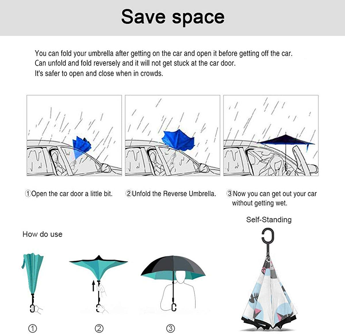 Cat And Fish Bone Vector Image Reverse Umbrella Double Layer Inverted Umbrellas For Car Rain Outdoor With C-Shaped Handle Personalized