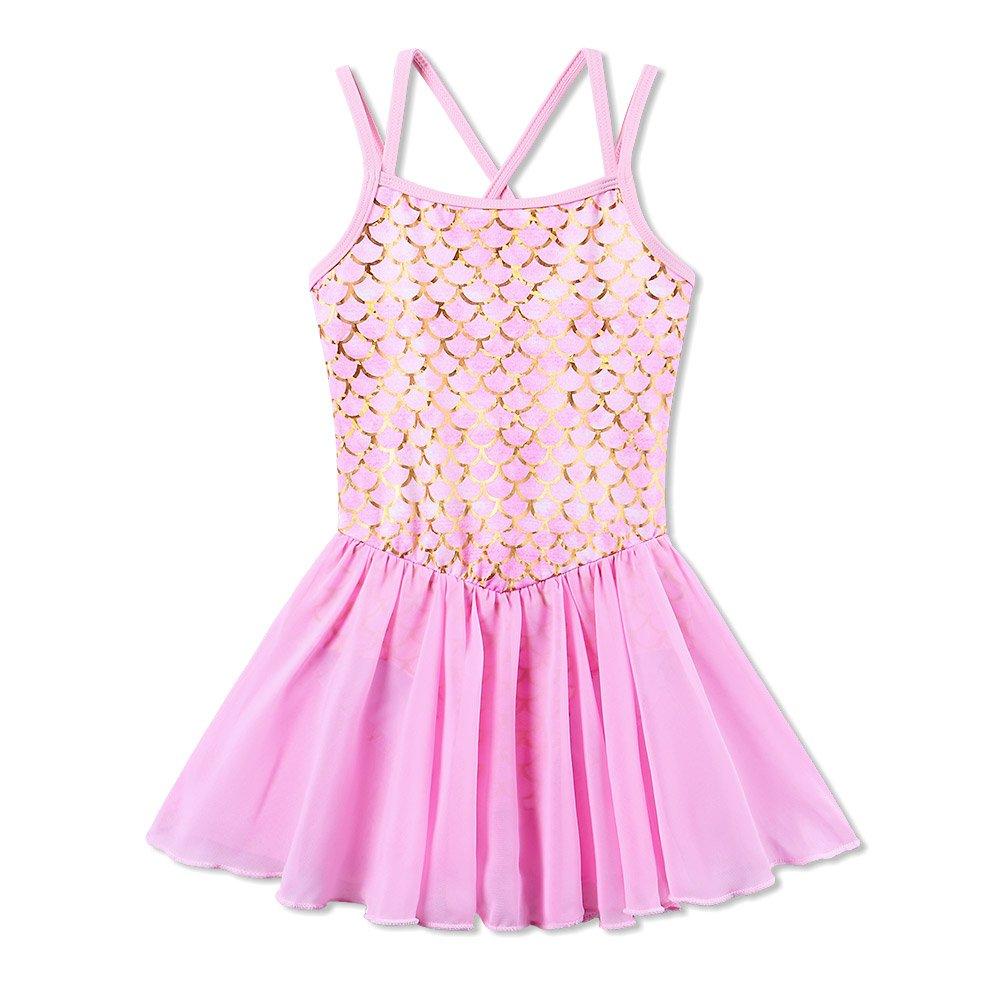 BAOHULU Girl's Ballet Dance Camisole Skirted Leotards Dancewear B186_MermaidPink_L by BAOHULU