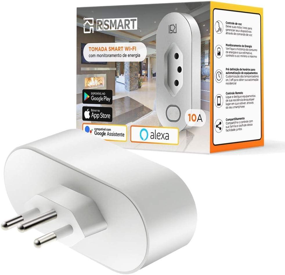 Tomada Inteligente Smart Plug Wi-Fi RSmart 10A Ligue ou Desligue seus Eletrodomésticos Através do Celular Compatível com Alexa