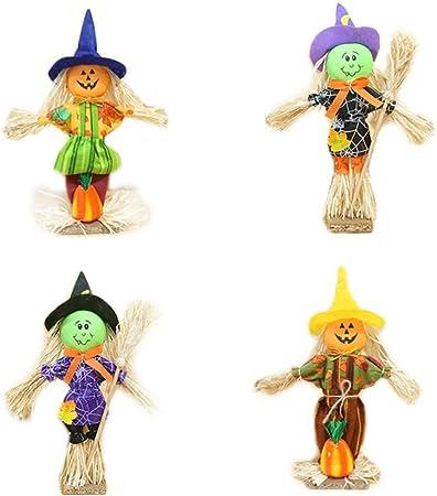 Vosarea 4 unids de Halloween Espantapájaros Calabaza Muñeca Adornos de Escritorio para Jardín Casa Patio Porche Decoración de Halloween: Amazon.es: Hogar