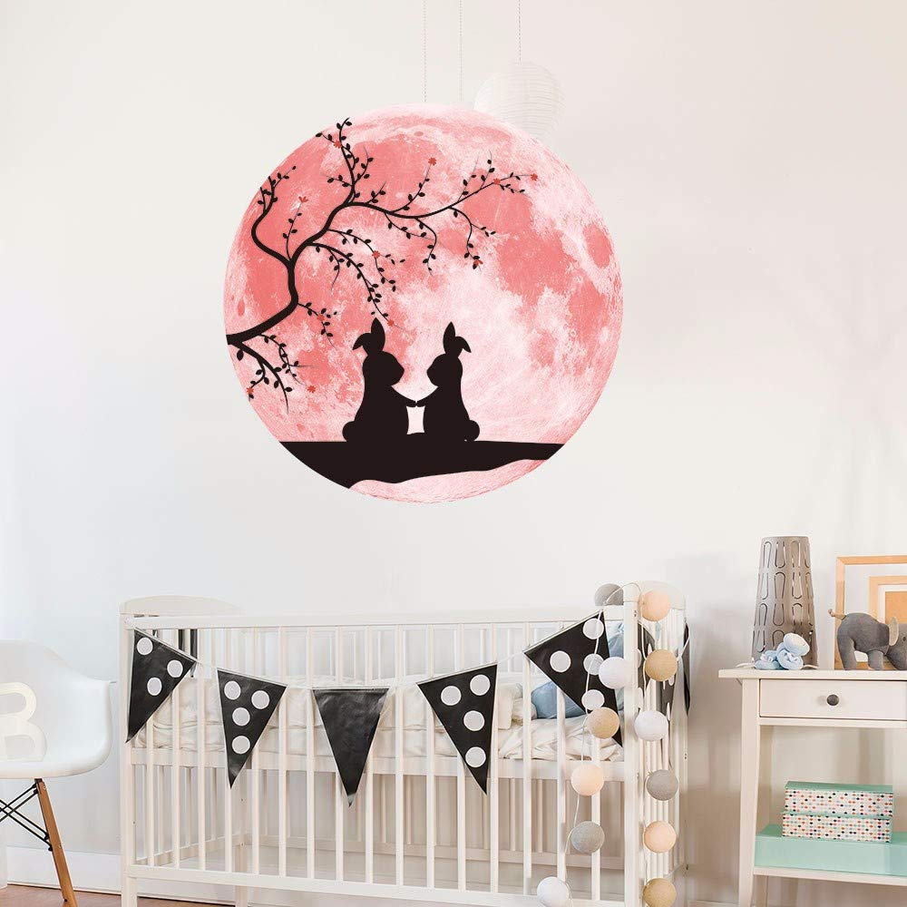 YWLINK Pink Love Luminous Moon Etiqueta De La Pared ...