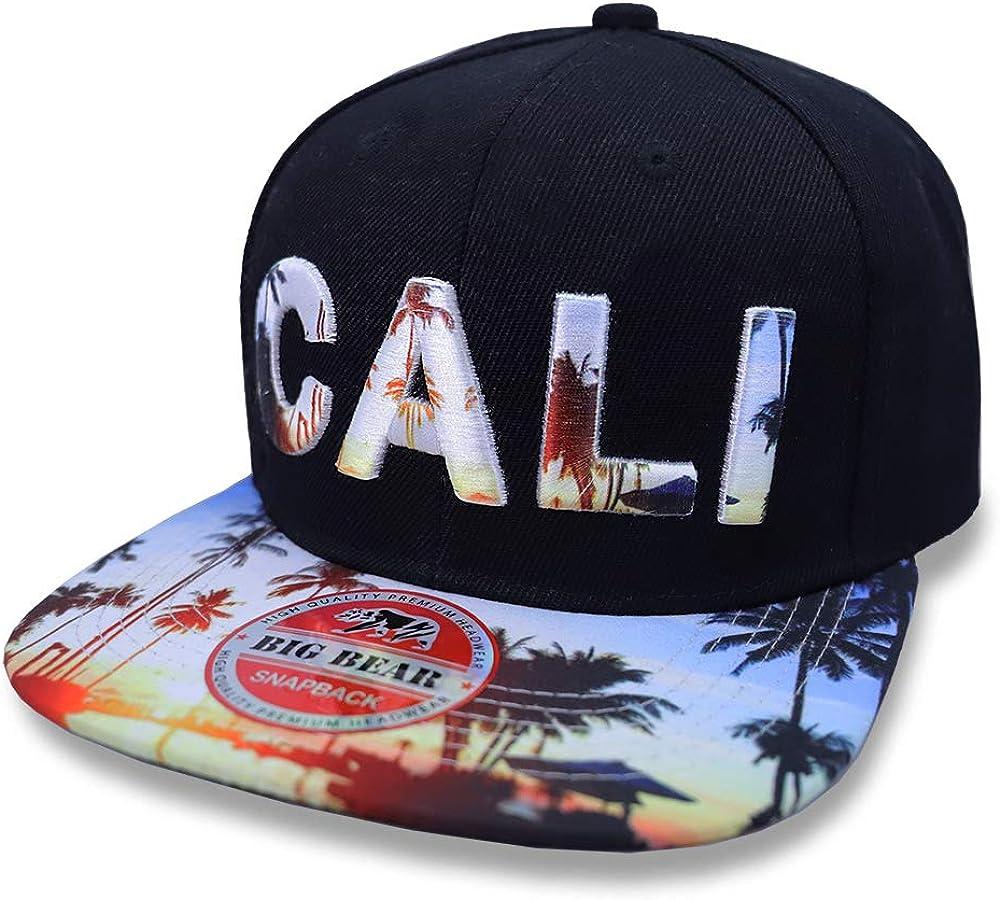 California Republic hat Bear Snapback Baseball cap Flat bill Khaki Beige//white