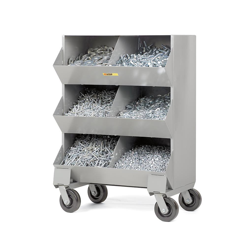 Little Giant Mobile Storage Bin - 32X20x45-1/2'' - (6) 16X15x12-1/2'' Bins - Gray