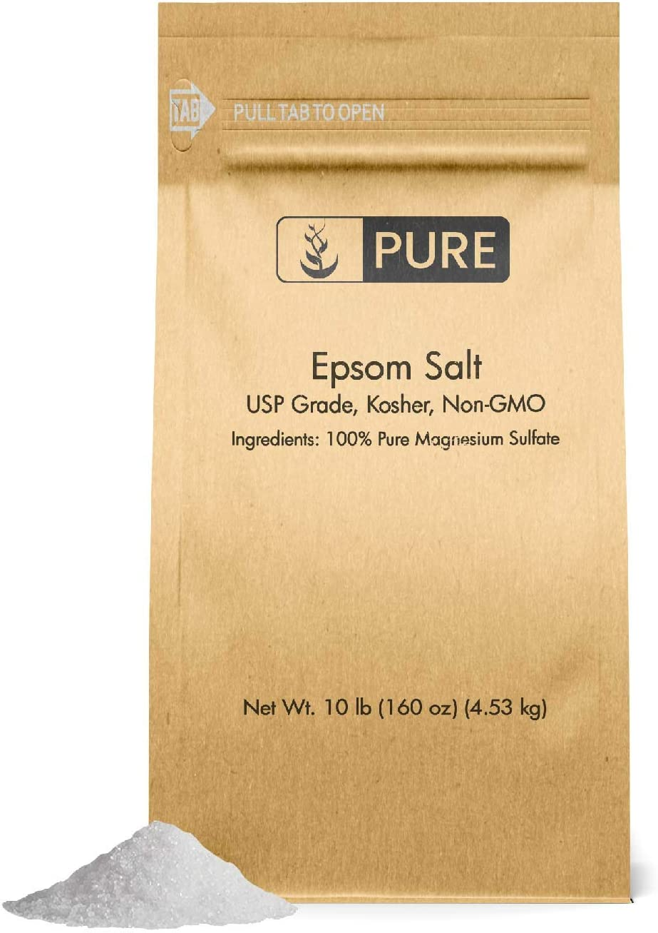 Epsom Salt (10 lb.) by Pure, Magnesium Sulfate Soaking Solution, All-Natural, Highest Quality & Purity, USP Grade