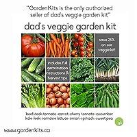 Save 25%! Dad's VEGGIE GARDEN KIT - 10 Vegetable Seeds: Cherry Tomato, Carrot, Cucumber, Beefsteak Tomato, Leek, Romaine Lettuce,Onion, Kale,Sweet Garden Pea,Spinach