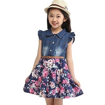 c78e25b65 Moin vestidos vaquero para niñas 2015 verano hot sale vestidos sin mangas  de chicas Moda Simple: Amazon.es: Juguetes y juegos