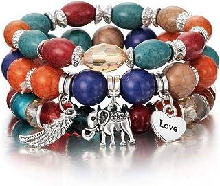 KYDE&V Bracciale con 3 Ciondoli con Perline Bracciale con Ciondoli in Argento con Ciondoli A Forma di Elefante