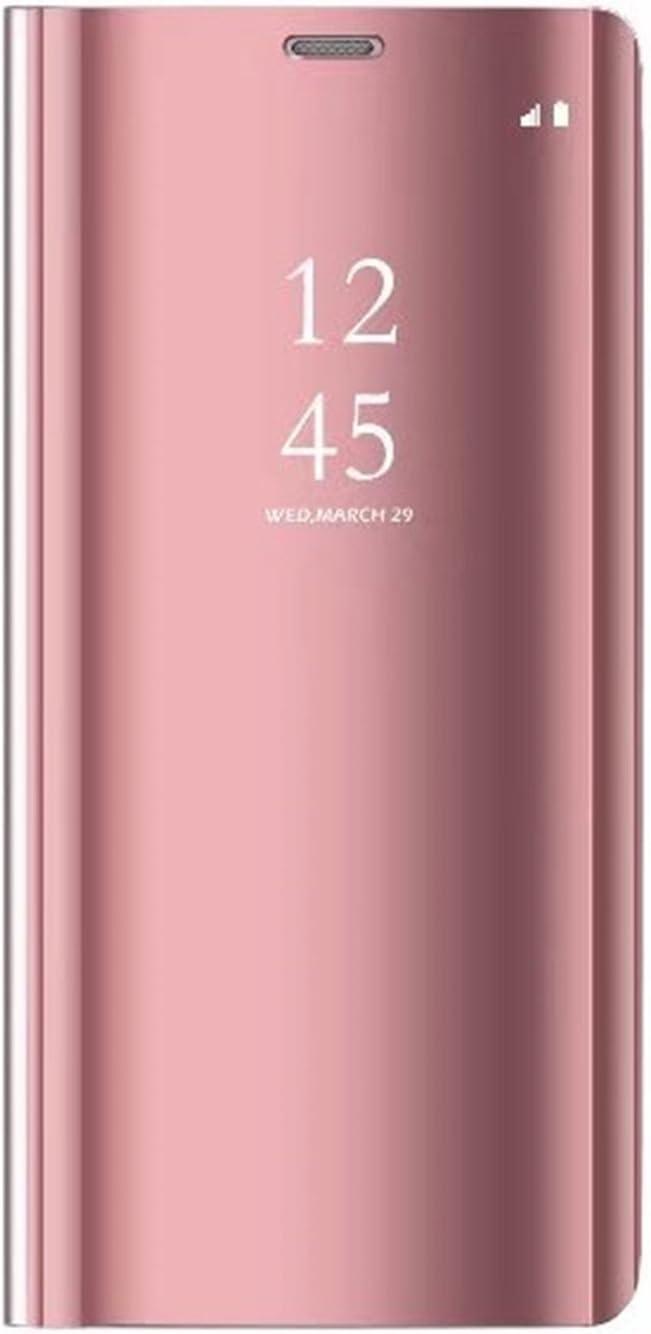 Tianyan Funda Xiaomi Mi8 Lite,Inteligente Espejo Clear View Flip Cover Carcasa Plegable Soporte Funda para Xiaomi Mi8 Lite,Rosa