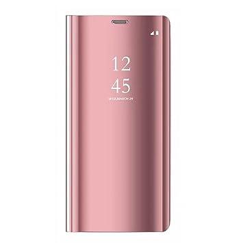 Tianyan Funda para Samsung Galaxy Note 4,Espejo Clear View Flip Cover Carcasa Plegable Soporte, Funda para Samsung Galaxy Note 4,Rosa
