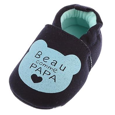 22b9a3662668c Gazechimp Chaussures Bébé Naissance Coton Antidérapant - Bébé Garçon Fille  - Beau comme papa