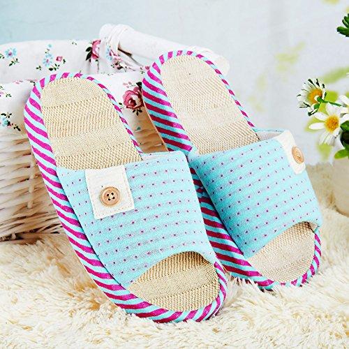 Y-Hui Home zapatillas, Zapatillas, ropa de verano casa Cubierta antideslizante con suelos de madera, zapatillas de oficina blue