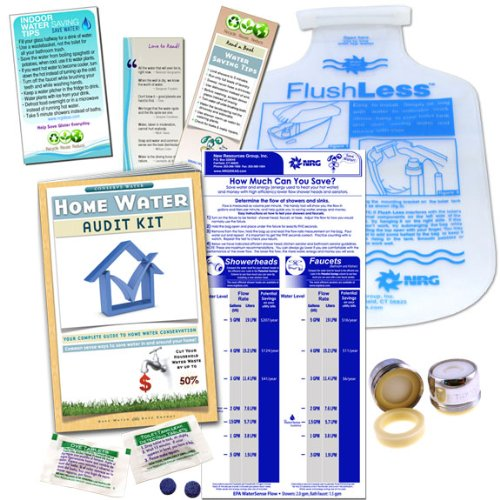 Home Water Audit & Bathroom Kit | Faucet Aerator & Flow Bag, Toilet Dye Tablets Low Flush Displacement (Flow Bag)