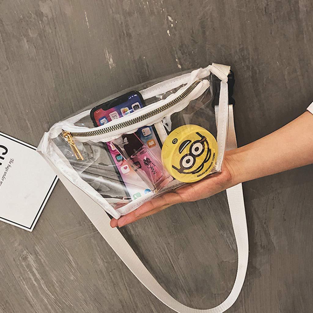 Cansenty Sac banane transparent en PVC pour femme blanc