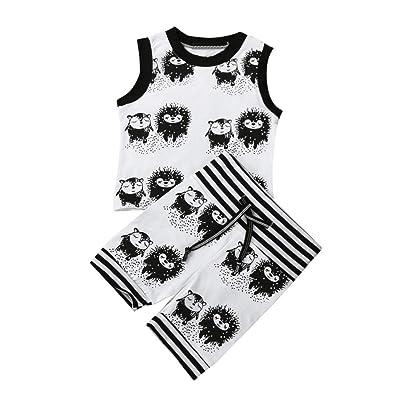 14e97f714 Kehen Infant Toddler Baby Boy 2pcs Summer Outfits Sleeveless Hedgehog Vest T -Shirt + Shorts