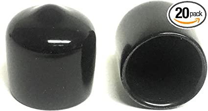 3//8 inch Round Black or White Rubber//Vinyl Pipe End Cap Cover .375 Pack of 10 Black