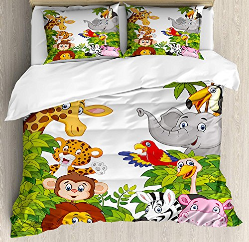 (Nursery 4 Piece Bedding Set Duvet Cover Set Full Size, Cartoon Style Zoo Animals Safari Jungle Mascots Collection Tropical Forest Wildlife, Luxury Bed Sheet for Childrens/Kids/Teens/Adults, Multicolor)