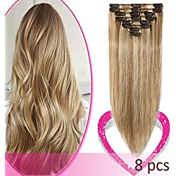 Remy Clip in Hair Extensions 100% Human Hair Highlight 18 Inch 70g Standard Weft 8 Pcs 18 Clips Straight Hair for Women Beauty Gift Balayage #12/613 Golden Brown Mix Bleach Blonde