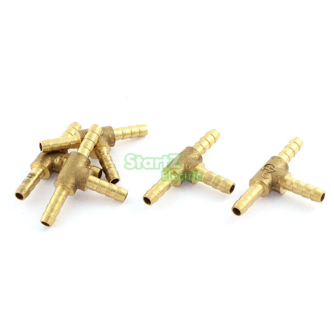 Maslin 5Pcs 6mm 1//4T Brass Barbed 3 Way Fuel Hose Joiner for Compressed Air Gas Oil