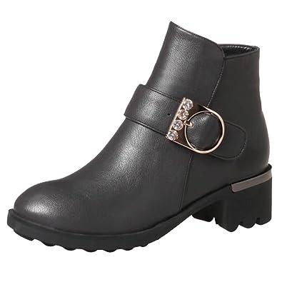 AIYOUMEI Damen Blockabsatz Stiefeletten mit Schnalle und Strass 5cm Absatz Ankle Boots Ki2LU6of