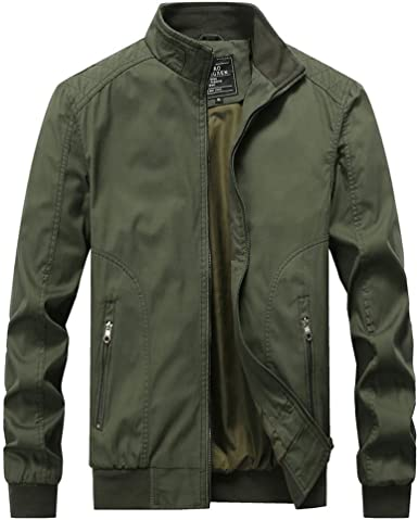 Mens Autumn Winter Casual Outwear Pure Color Zipper Breathable Jacket Coat