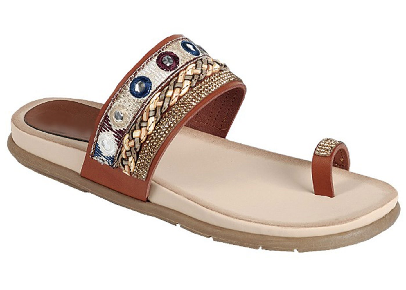 Top Tan Beaded Indian Ethnic Hippy Vegan Leather Flip-Flop Small Wedge Round Toe Low Heel FitFlop Cushioned Casual Beach Flat Bohemian Barefoot Summer Sandal for Sale Women Teen Girl (Size 6.5, Tan)