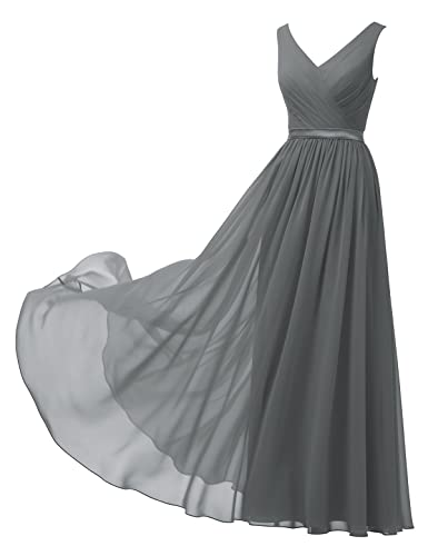 Review Alicepub V-Neck Chiffon Bridesmaid Dress Long Party Prom Evening Dress Sleeveless