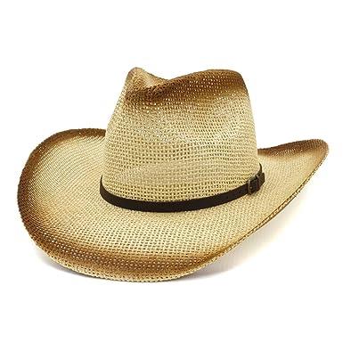 CryLee Sombrero de Vaquero de Paja Retro con ala Ancha, Sombrero ...