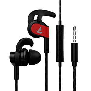 boAt Bassheads 242 Wired Sports Earphones with HD Sound, 10 mm Dynamic Drivers, IPX 4 Sweat and Water Resistance, Superior Coated Cable, in-Line Mic and Carry Pouch (Active Black)