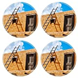 Liili Round Coasters Non-Slip Natural Rubber Desk Pads Ladder on a Southwest style stucco building in New Mexico Photo 5582368