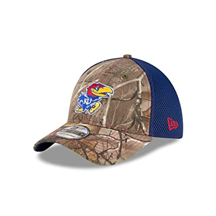 7d4115e2d58 New Era Kansas Jayhawks Real Tree Neo 39THIRTY Flex Fit Hat Cap Small Medium
