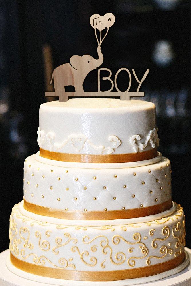 It's A Boy Cake Topper, Wood Cake Topper, Baby Shower Cake Topper, Elephant Cake Topper, Gender Reveal Cake Topper (6'')
